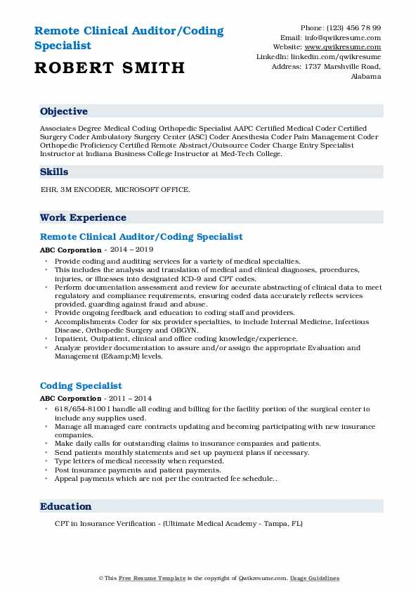 Remote Clinical Auditor/Coding Specialist Resume Template