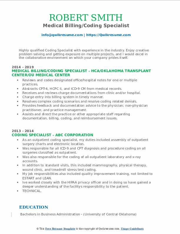Medical Billing/Coding Specialist Resume Template