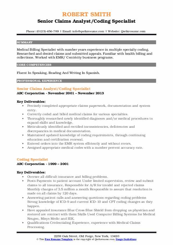 Senior Claims Analyst/Coding Specialist Resume Example