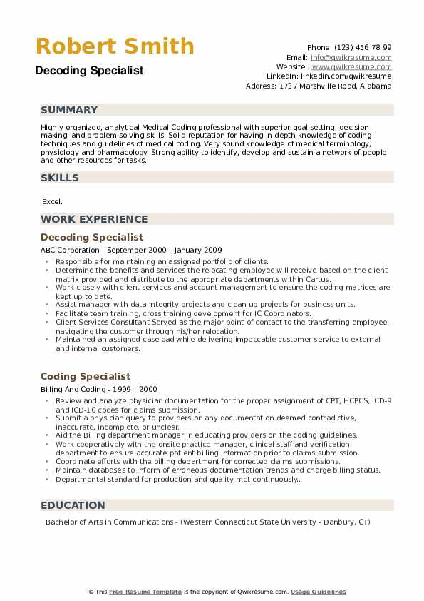 Decoding Specialist Resume Model