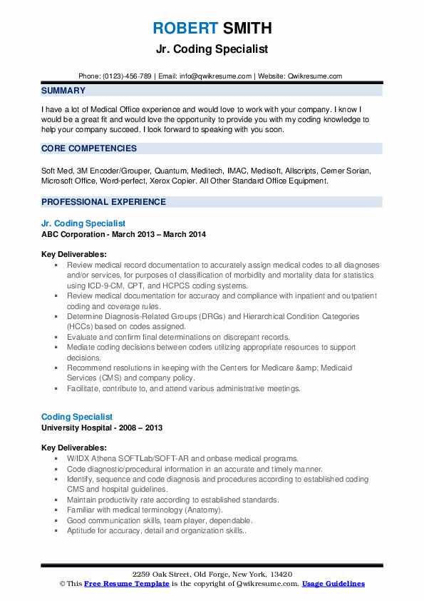 Jr. Coding Specialist Resume Sample