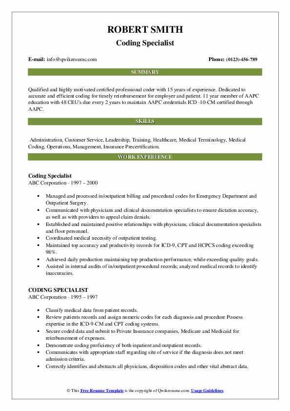 Coding Specialist Resume example