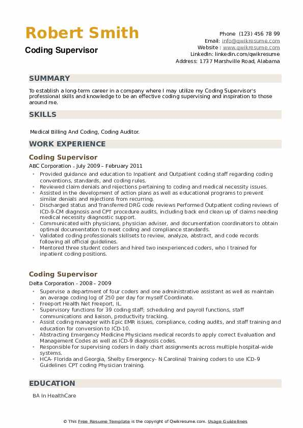 Coding Supervisor Resume example