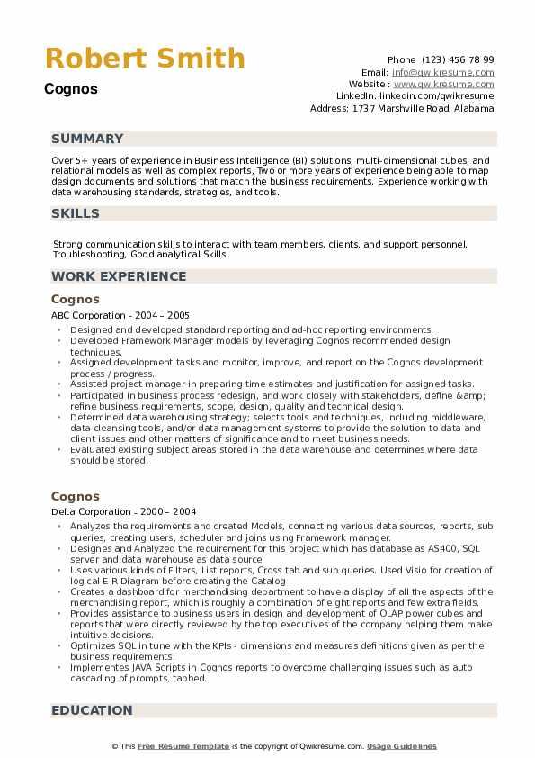Cognos Resume example
