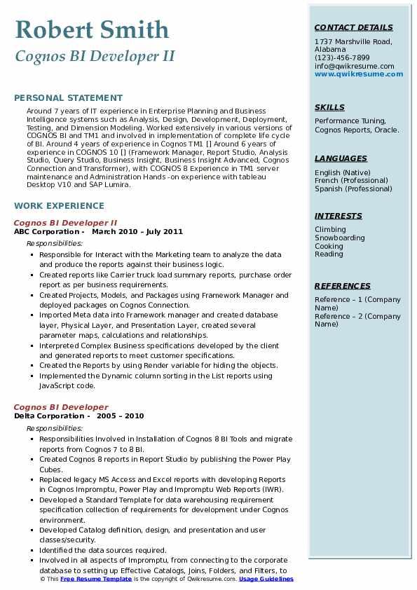 cognos bi developer resume samples  qwikresume
