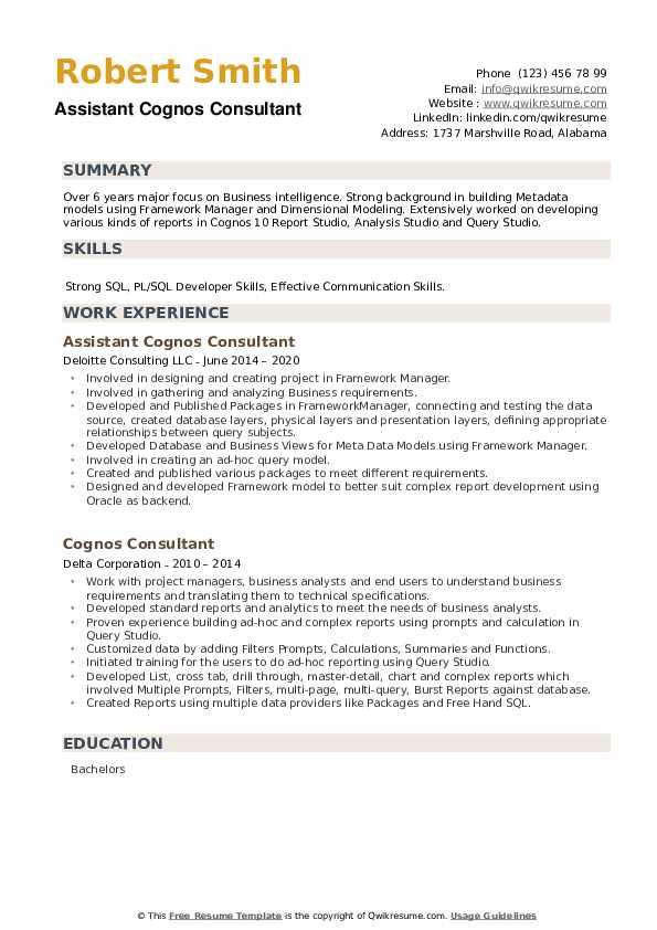 Cognos Consultant Resume example