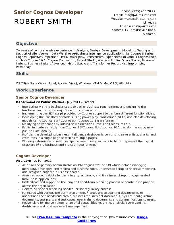 Senior Cognos Developer Resume Format
