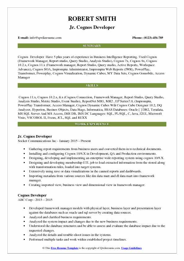 Jr. Cognos Developer Resume Template