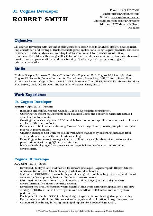 Jr. Cognos Developer Resume Model