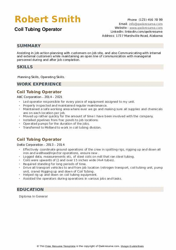 Coil Tubing Operator Resume example