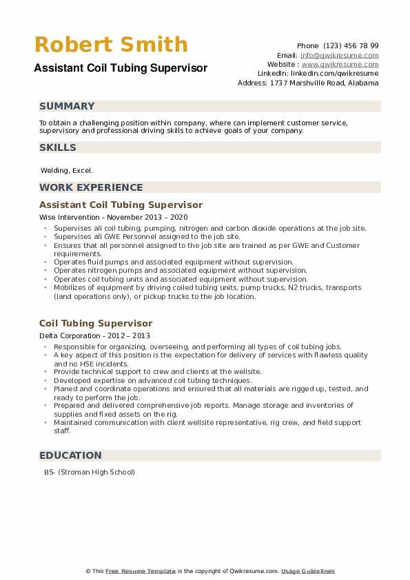 Coil Tubing Supervisor Resume example
