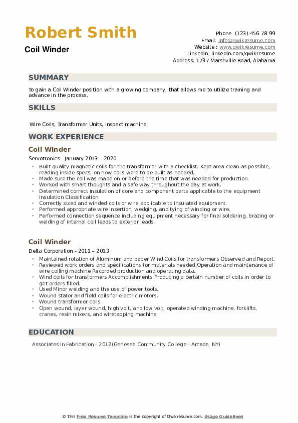Coil Winder Resume example