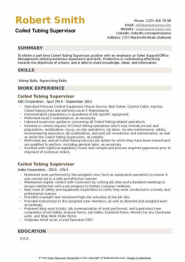 Coiled Tubing Supervisor Resume example