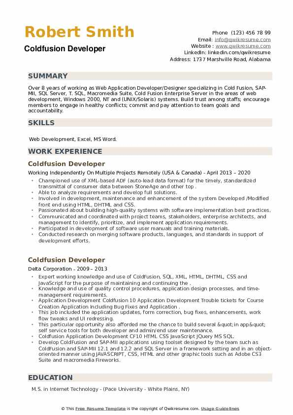Coldfusion Developer Resume example