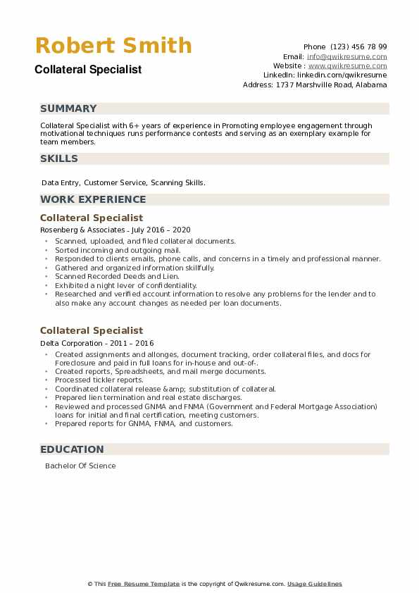 Collateral Specialist Resume example