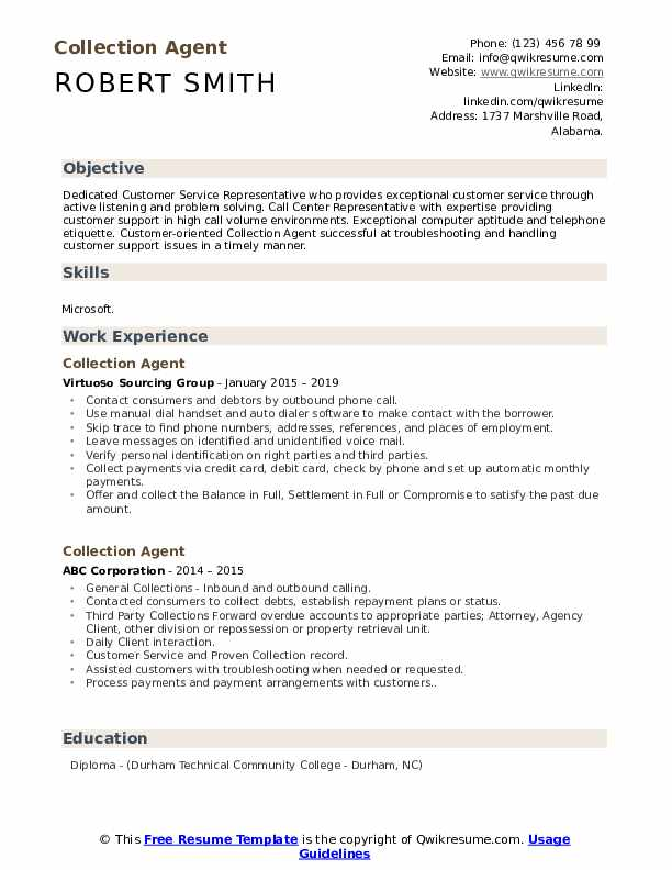 Collection Agent Resume Samples Qwikresume
