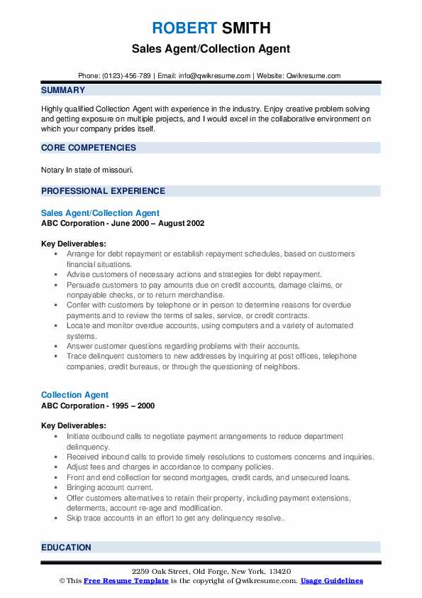 Sales Agent/Collection Agent Resume Example