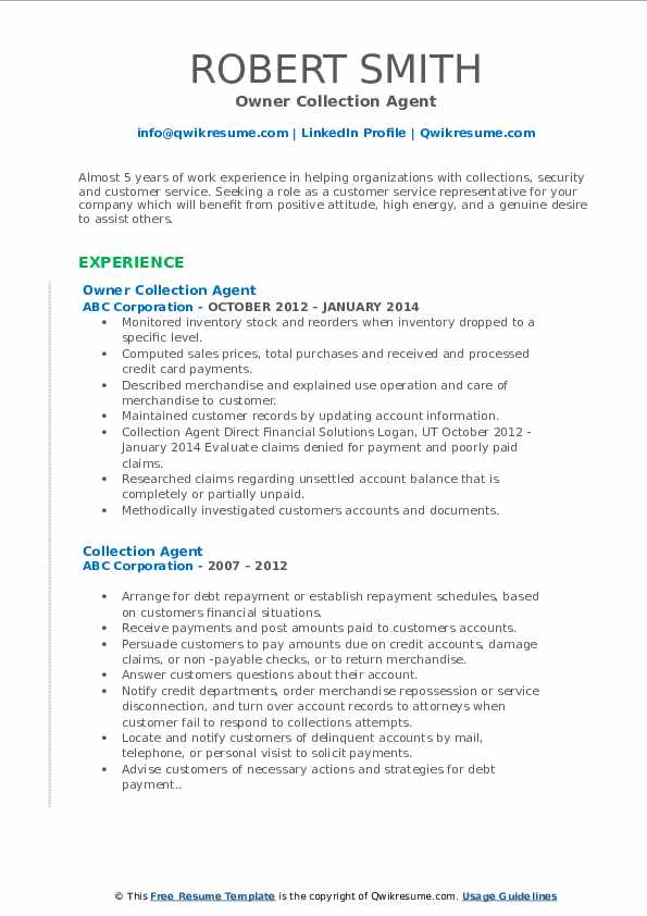 Owner Collection Agent Resume Format
