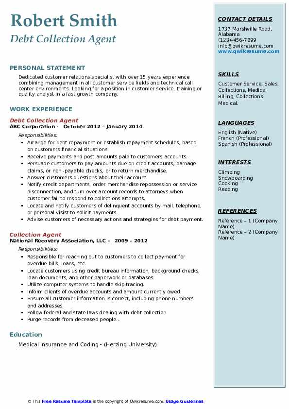 Debt Collection Agent Resume Model