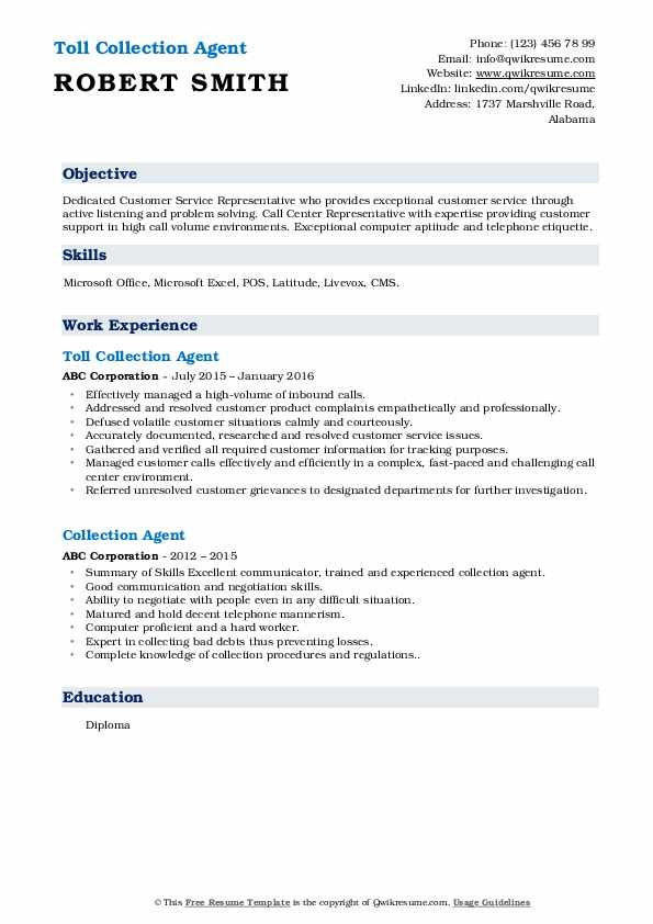 Toll Collection Agent Resume Template