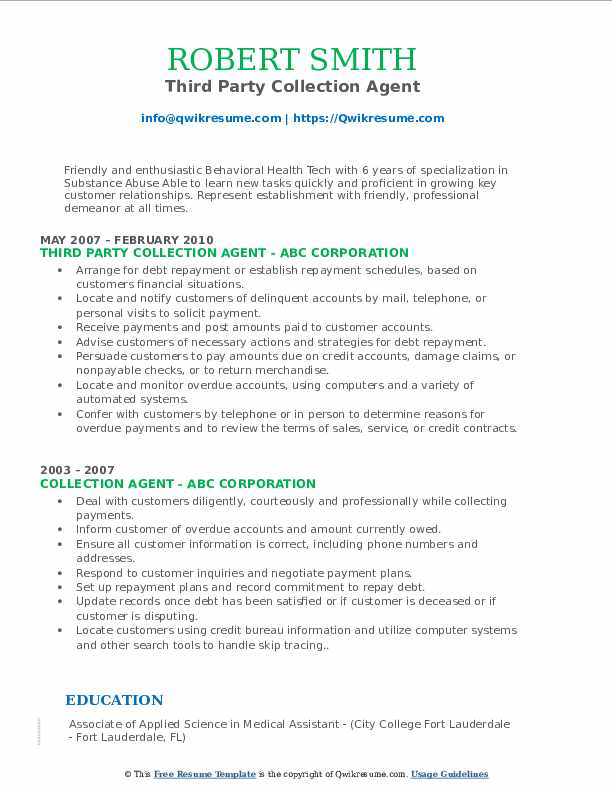 Third Party Collection Agent Resume Sample