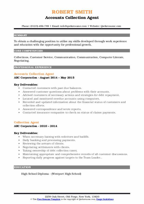 Accounts Collection Agent Resume Model