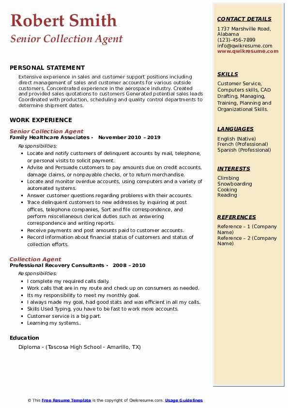 Senior Collection Agent Resume Template