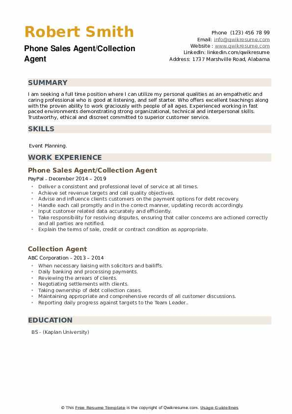 Phone Sales Agent/Collection Agent Resume Format