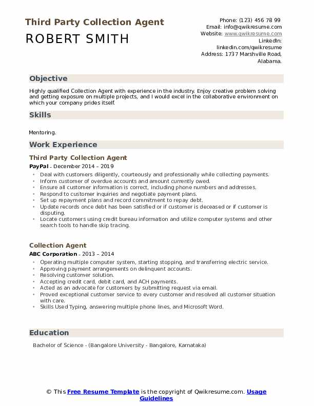 Third Party Collection Agent Resume Example