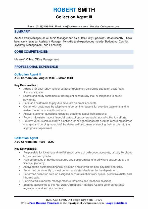 Collection Agent III Resume Sample
