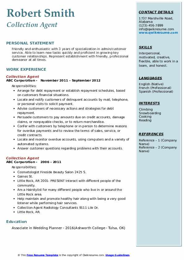 Collection Agent Resume example