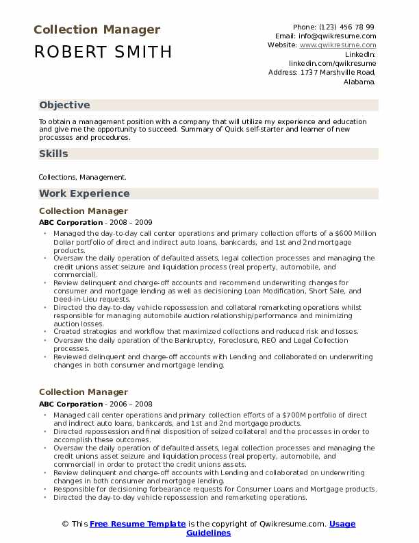 Collection Manager Resume Example