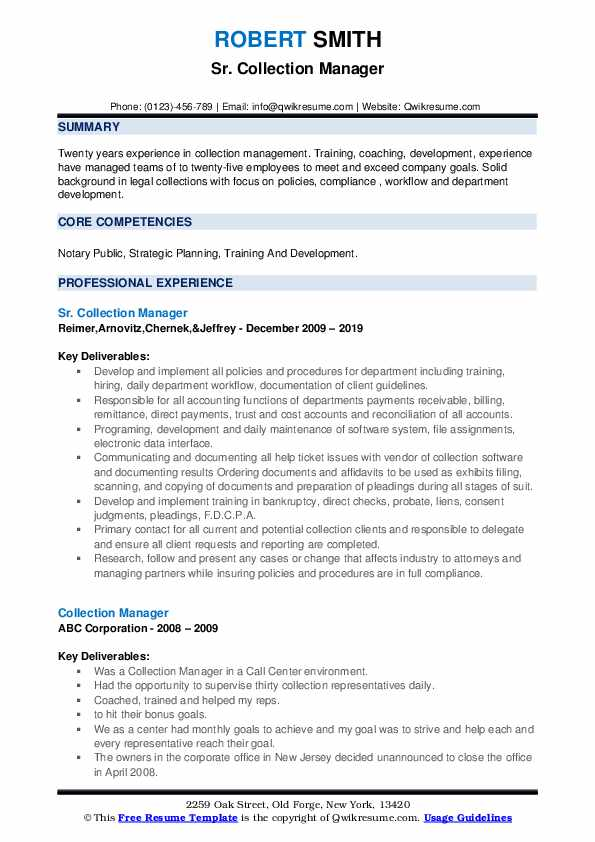 Sr. Collection Manager Resume Template