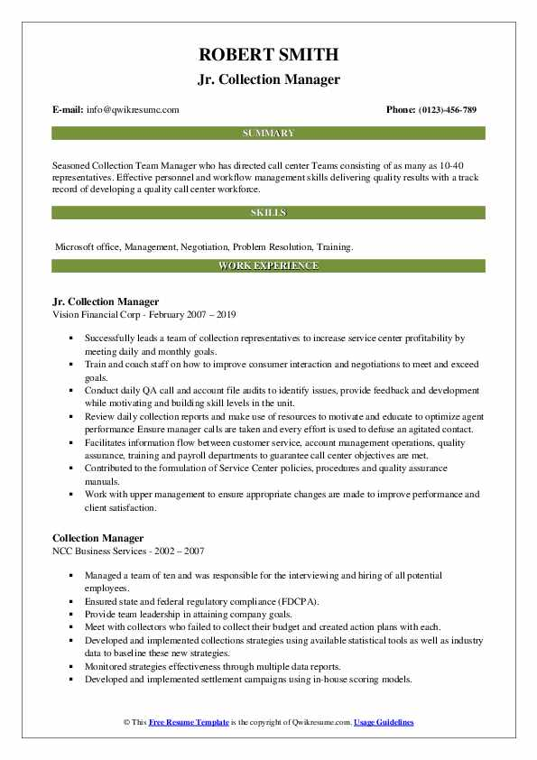 Jr. Collection Manager Resume Template