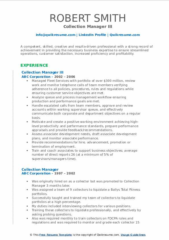 Collection Manager III Resume Sample