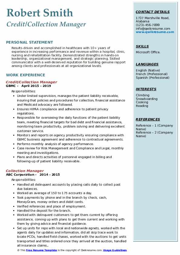 Credit/Collection Manager Resume Template