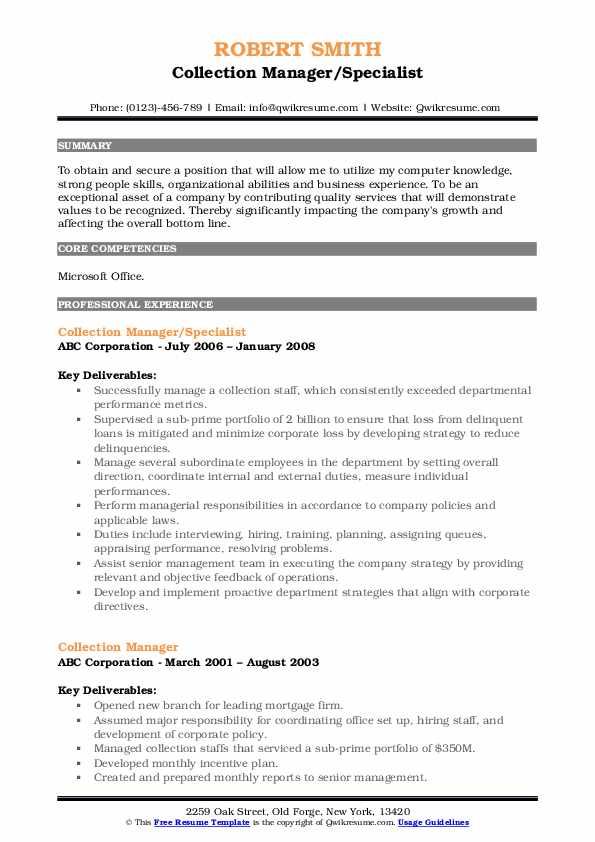Collection Manager/Specialist Resume Example