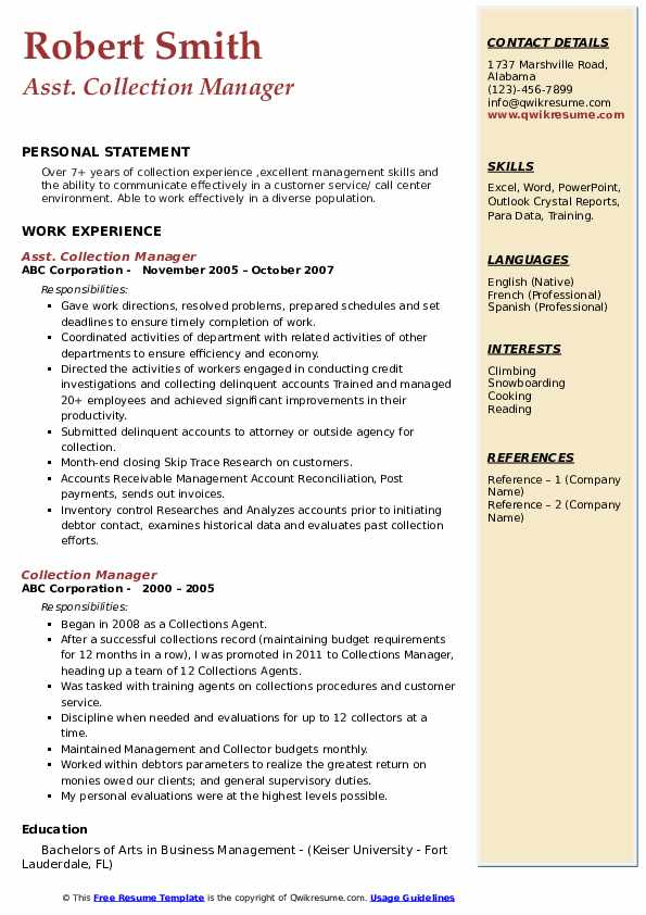 Asst. Collection Manager Resume Format