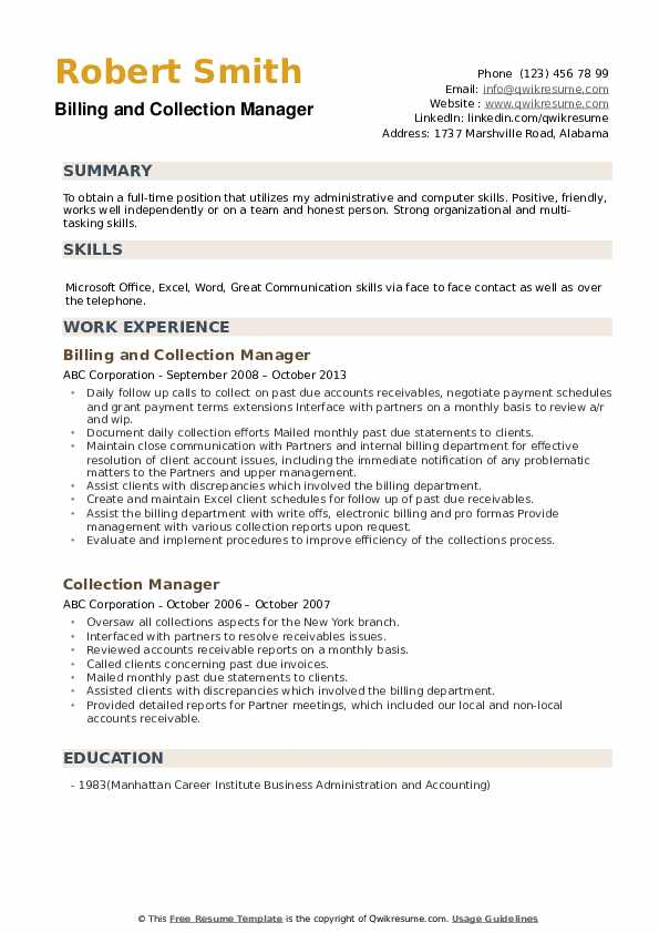 collection manager resume samples  qwikresume