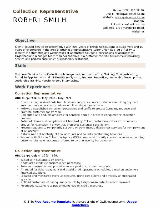 Collection Representative Resume Model