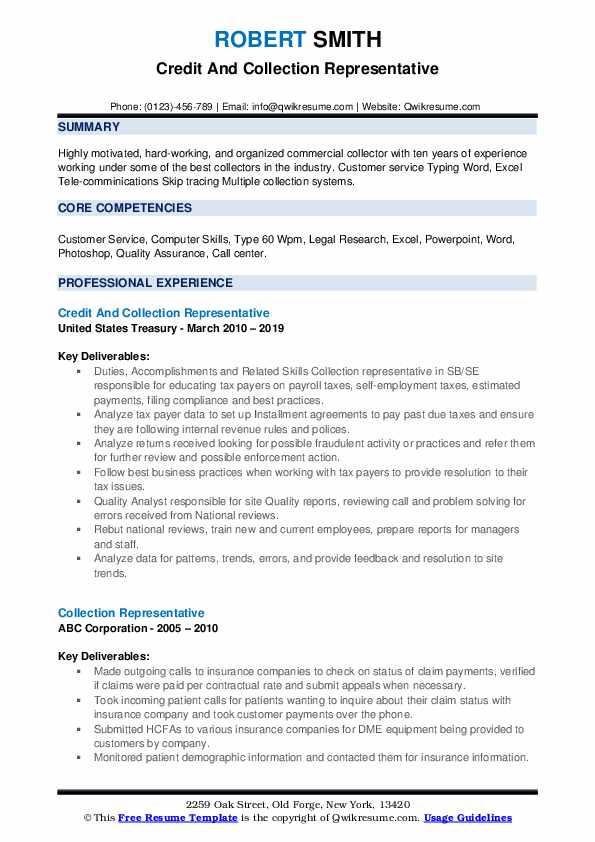 Credit And Collection Representative Resume Template