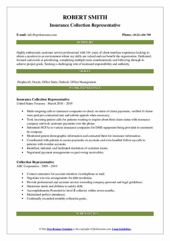 Insurance Collection Representative Resume Example