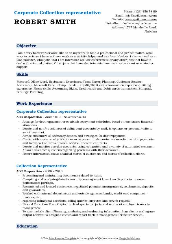 Corporate Collection representative Resume Example