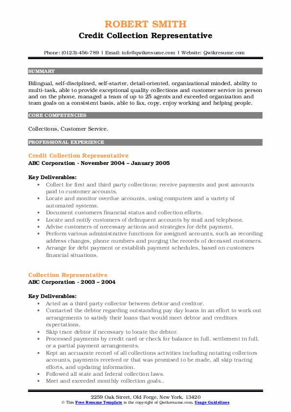 Credit Collection Representative Resume Template