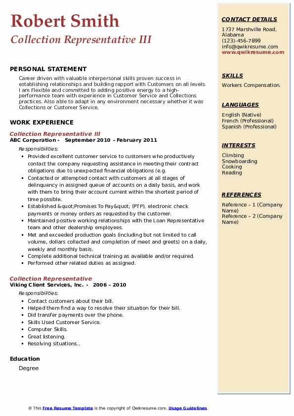 Collection Representative III Resume Template