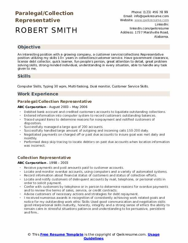 Paralegal/Collection Representative Resume Sample