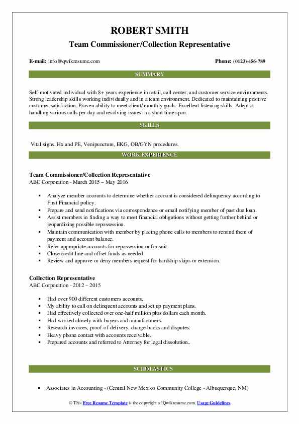 Team Commissioner/Collection Representative Resume Sample