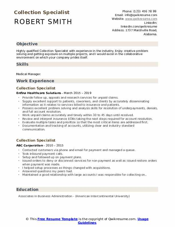 Collection Specialist Resume Example