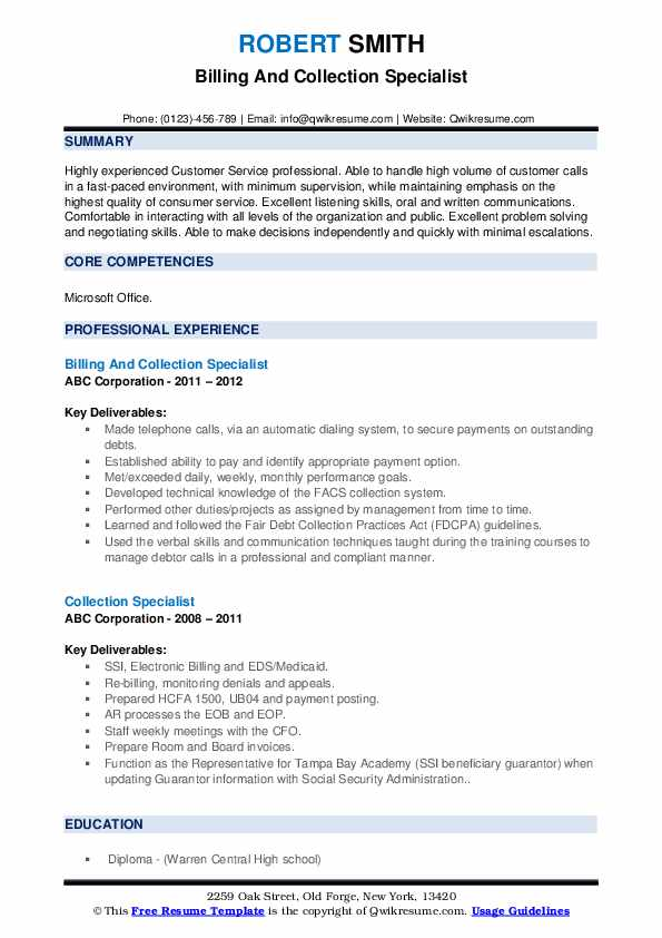 Billing And Collection Specialist Resume Sample