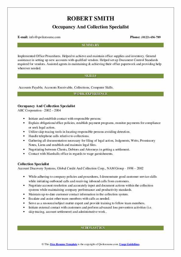 Occupancy And Collection Specialist Resume Model